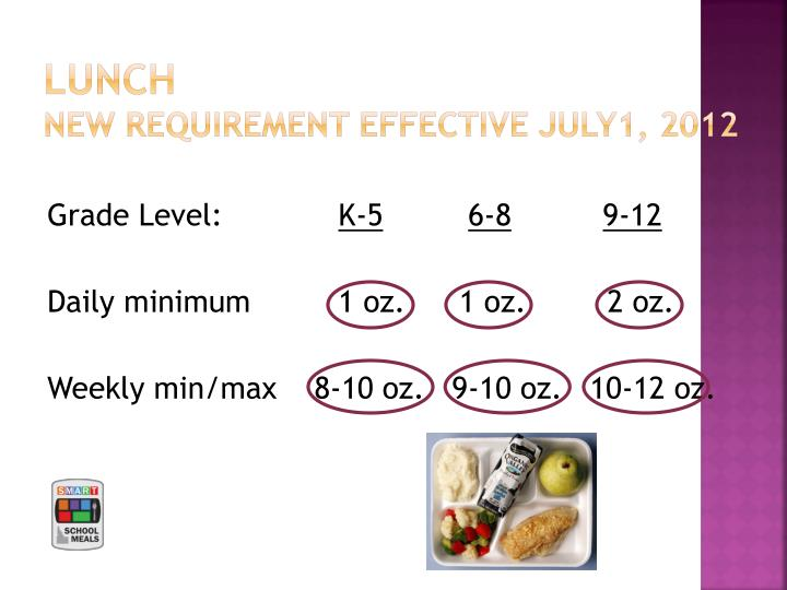 Lunch new requirement effective july1 2012