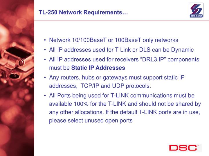 TL-250 Network Requirements…