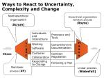 ways to react to uncertainty complexity and change