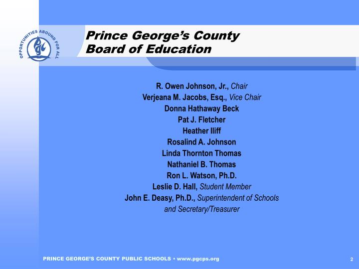 Prince george s county board of education