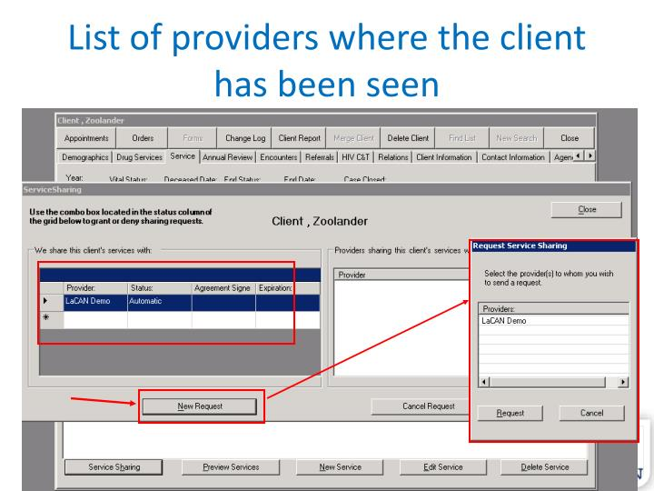 List of providers where the client has been seen