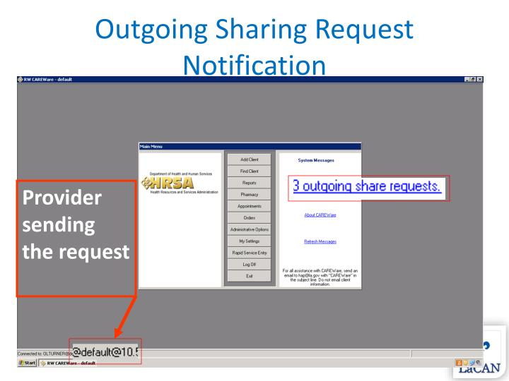 Outgoing Sharing Request Notification