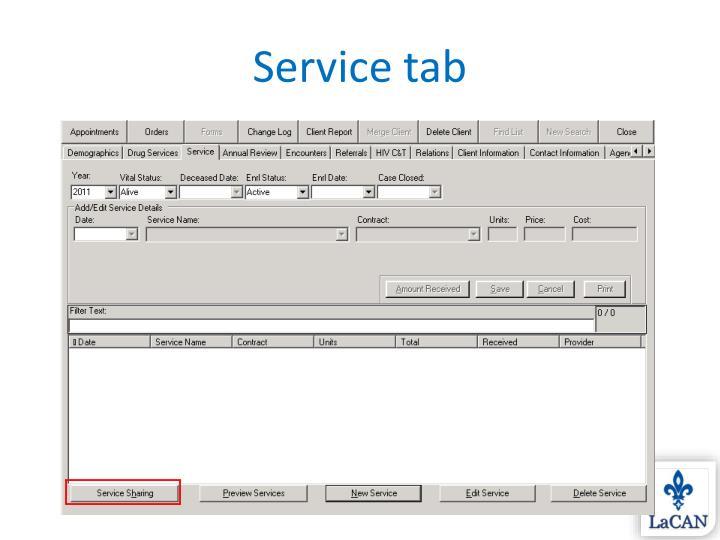 Service tab
