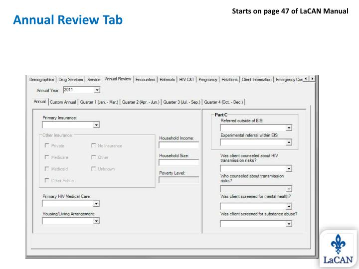 Annual Review Tab