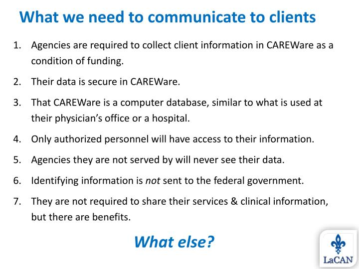 What we need to communicate to clients