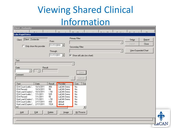 Viewing Shared Clinical Information
