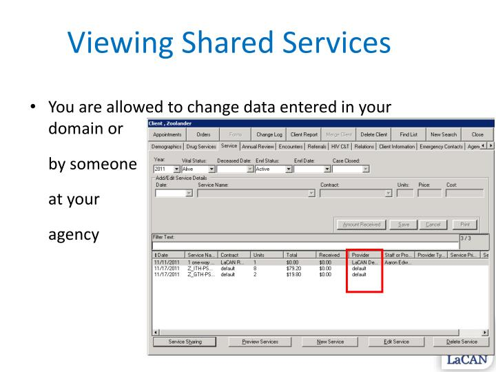 Viewing Shared Services