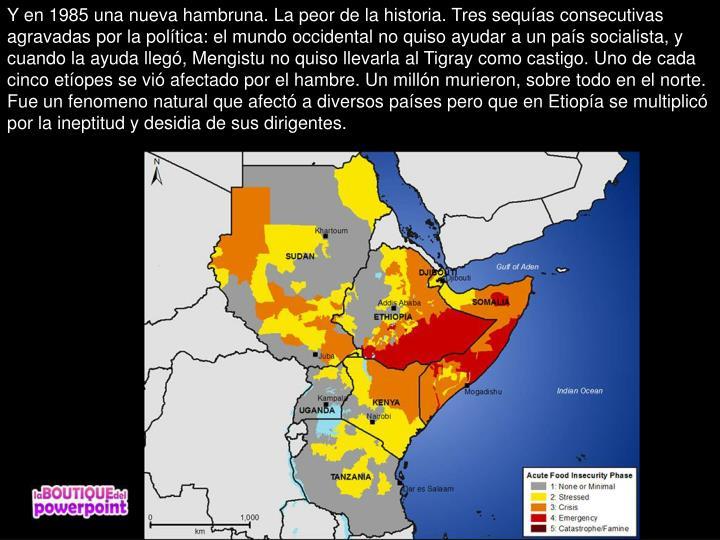 Y en 1985 una nueva hambruna. La peor de la historia. Tres sequías consecutivas agravadas por la política: el mundo occidental no quiso ayudar a un país socialista, y cuando la ayuda llegó, Mengistu no quiso llevarla al Tigray como castigo. Uno de cada cinco etíopes se vió afectado por el hambre. Un millón murieron, sobre todo en el norte. Fue un fenomeno natural que afectó a diversos países pero que en Etiopía se multiplicó por la ineptitud y desidia de sus dirigentes.