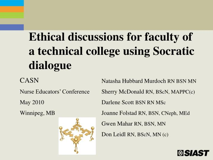 ethical discussions for faculty of a technical college using socratic dialogue n.