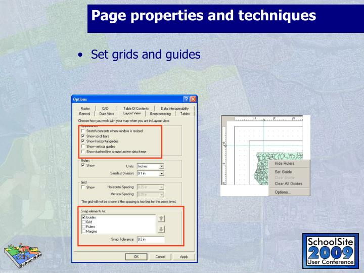 Page properties and techniques