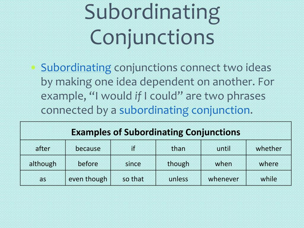 PPT - Conjunctions & Clauses PowerPoint Presentation - ID
