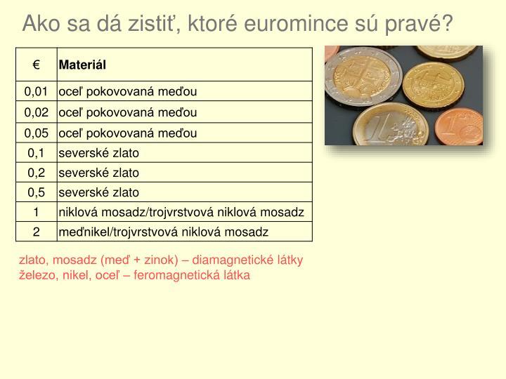 Ako sa dá zistiť, ktoré euromince sú pravé?