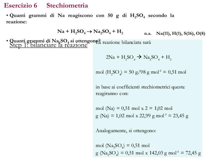 Esercizio 6Stechiometria