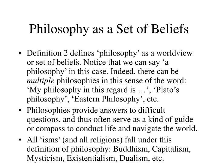 Philosophy as a Set of Beliefs