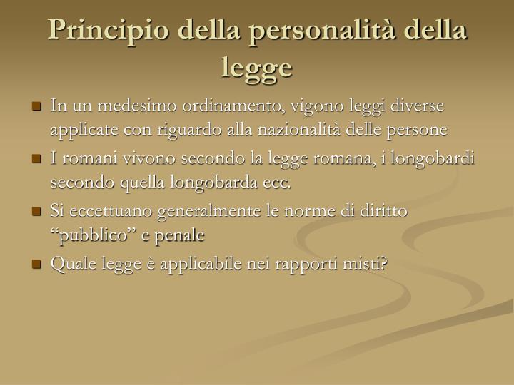 Principio della personalità della legge