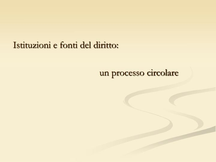 Istituzioni e fonti del diritto: