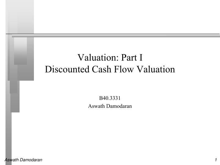 valuation part i discounted cash flow valuation n.