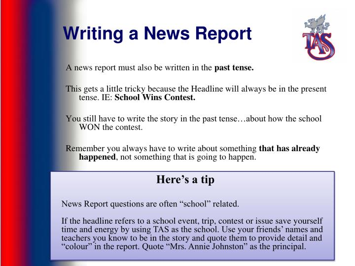 how to write a news report for school