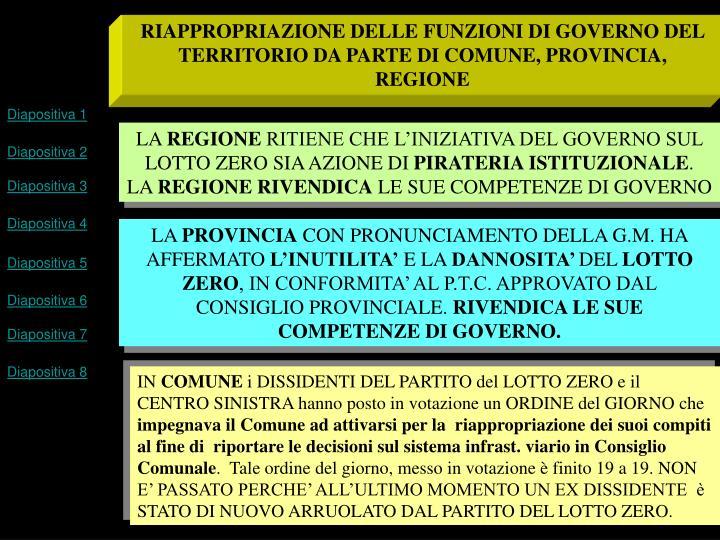 RIAPPROPRIAZIONE DELLE FUNZIONI DI GOVERNO DEL TERRITORIO DA PARTE DI COMUNE, PROVINCIA, REGIONE