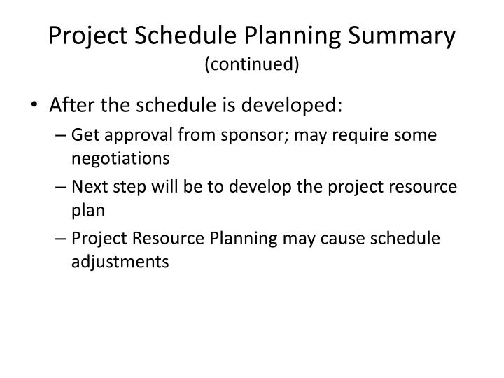 Project Schedule Planning Summary