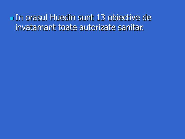 In orasul Huedin sunt 13 obiective de invatamant toate autorizate sanitar.