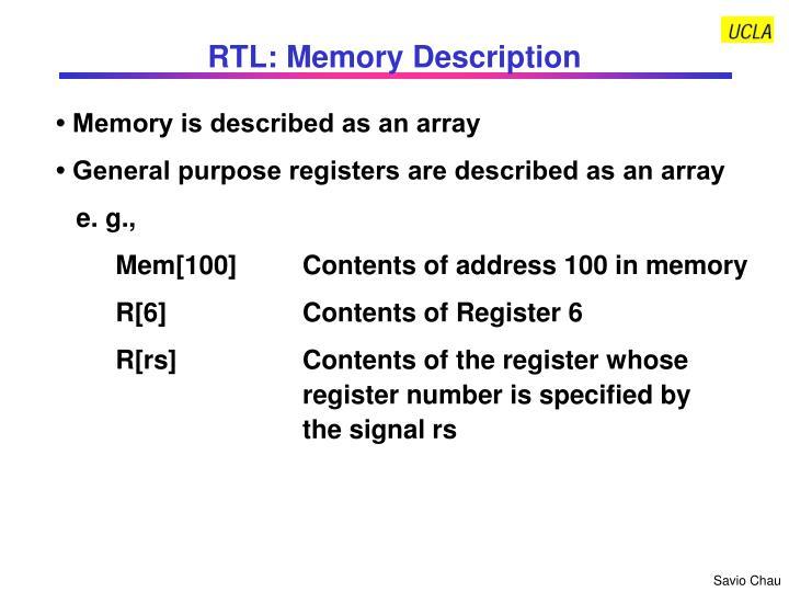 RTL: Memory Description