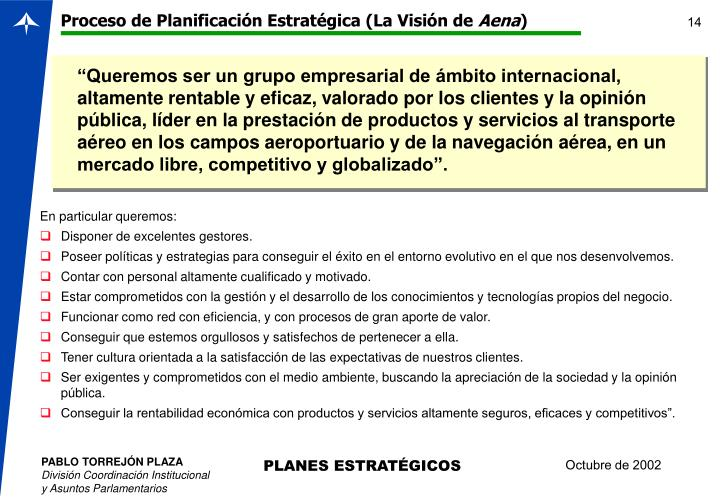 Proceso de Planificación Estratégica (La Visión de