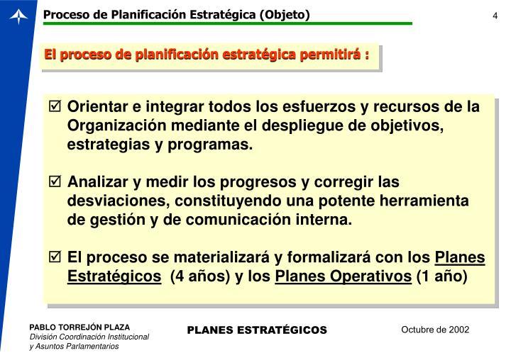 Proceso de Planificación Estratégica (Objeto)