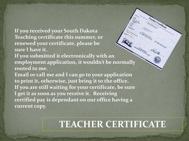 If you received your South Dakota