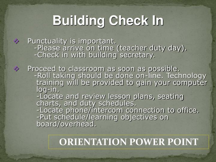 Building Check In