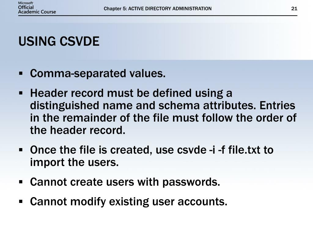 PPT - ACTIVE DIRECTORY ADMINISTRATION PowerPoint Presentation - ID