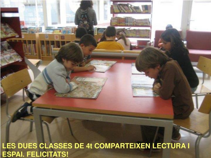 LES DUES CLASSES DE 4t COMPARTEIXEN LECTURA I ESPAI. FELICITATS!