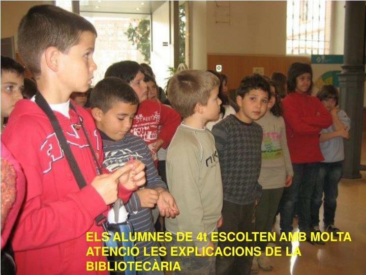 ELS ALUMNES DE 4t ESCOLTEN AMB MOLTA ATENCIÓ LES EXPLICACIONS DE LA BIBLIOTECÀRIA