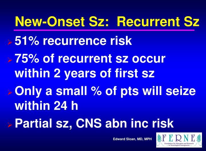 New-Onset Sz:  Recurrent Sz