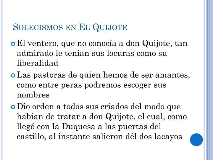 Solecismos en El Quijote