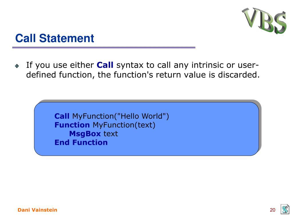 PPT - VBScript PowerPoint Presentation - ID:5279024