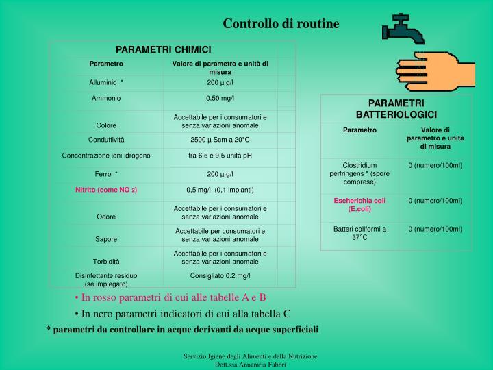 PARAMETRI BATTERIOLOGICI