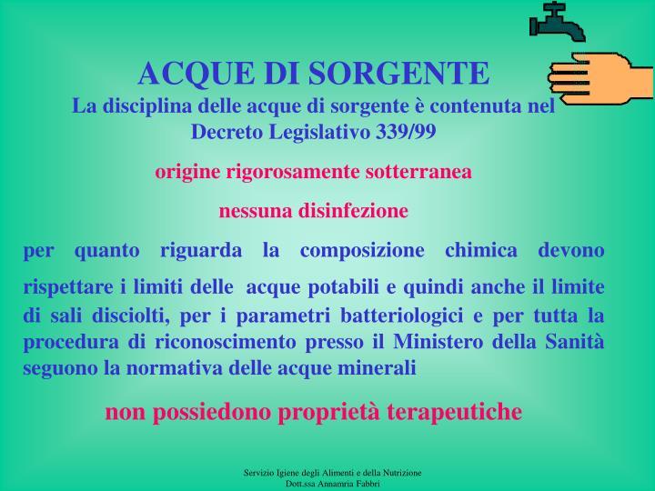 ACQUE DI SORGENTE