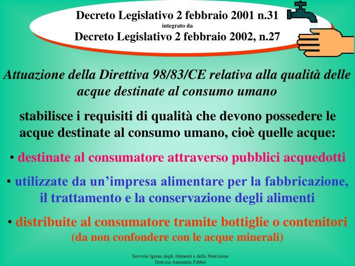 Decreto Legislativo 2 febbraio 2001 n.31