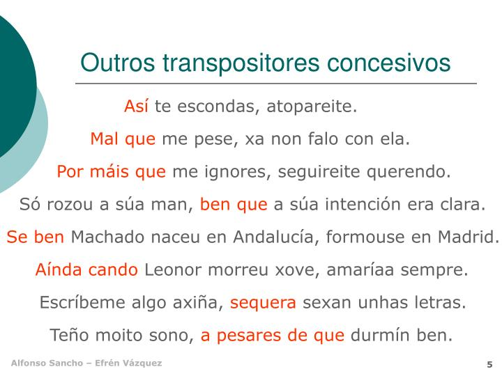 Outros transpositores concesivos