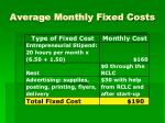 average monthly fixed costs