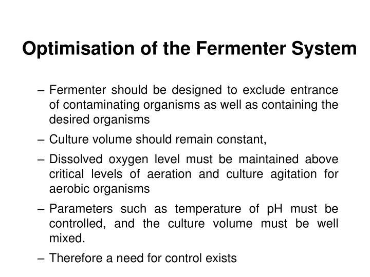 Optimisation of the Fermenter System