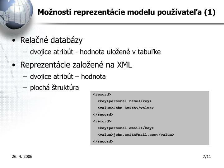 Možnosti reprezentácie modelu používateľa (1)