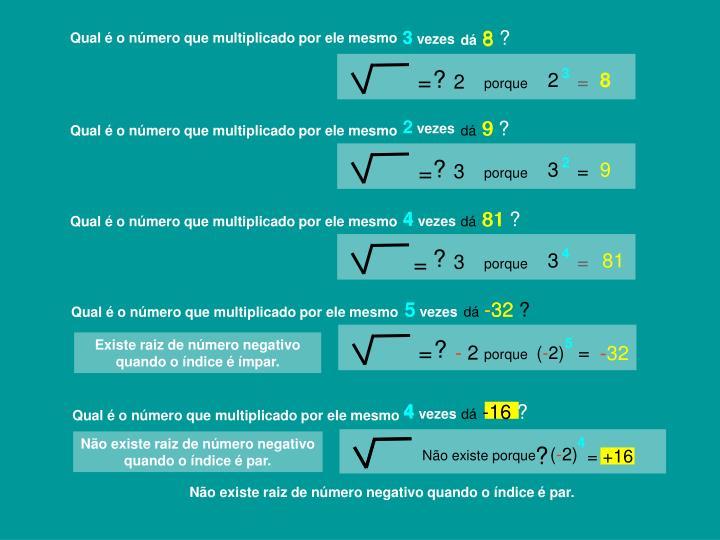 Não existe raiz de número negativo quando o índice é par.