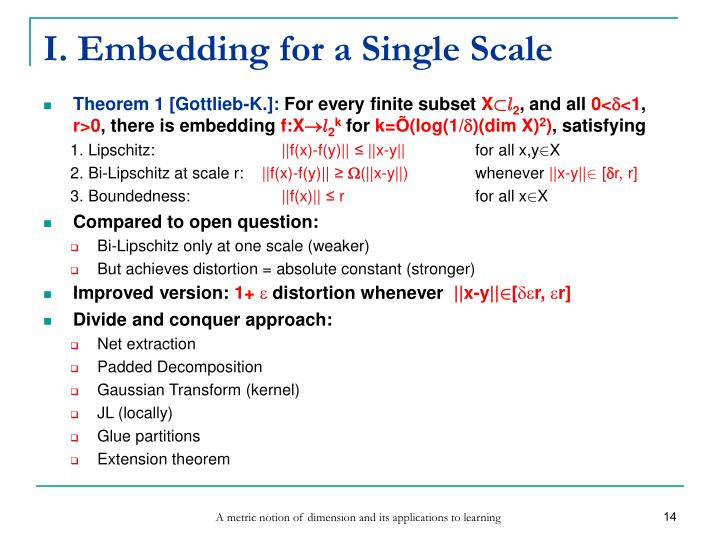 I. Embedding for a Single Scale