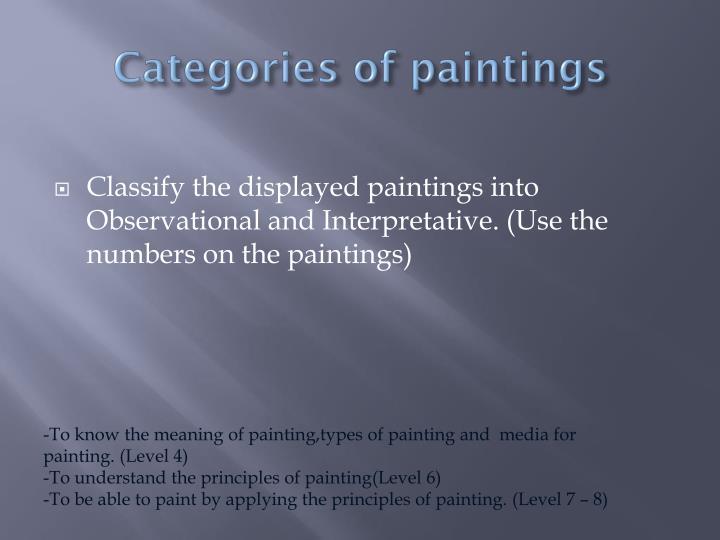 Categories of paintings