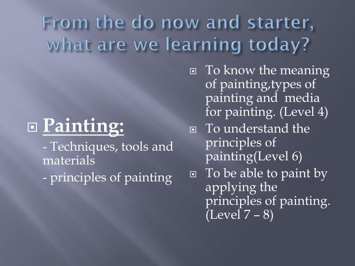 From the do now and starter, what are we learning today?