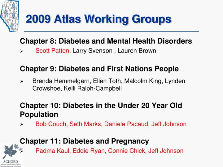 2009 Atlas Working Groups
