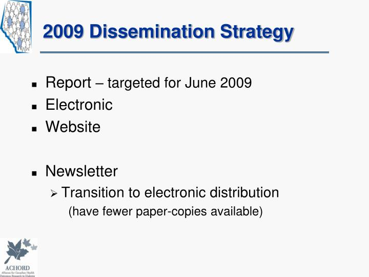 2009 Dissemination Strategy