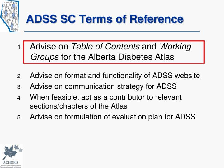 Adss sc terms of reference